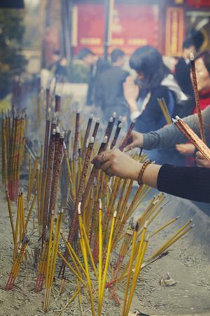 Burning Incense Sticks at Jiming Temple, Nanjing, Jiangsu Province, China
