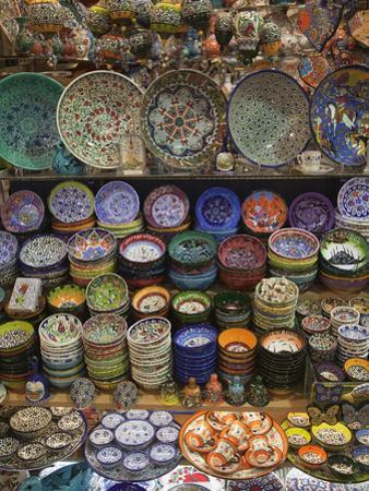 Ceramics on Display at a Shop in the Grand Bazaar, Istanbul, Turkey by Nigel Hicks