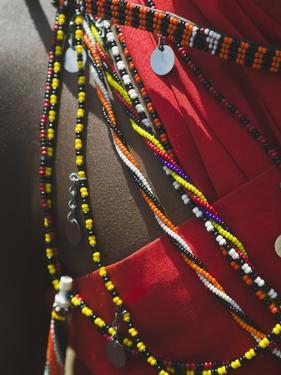 Close Up Detail of a Maasai Tribesman's Beaded Jewelry by Nigel Hicks