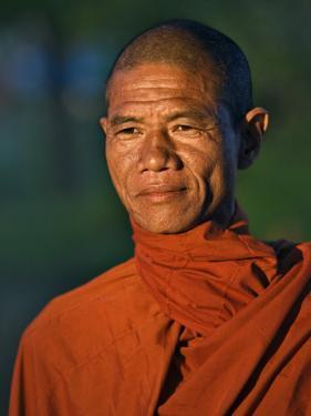 Burma, Rakhine State, A Buddhist Monk Enjoys the Late Afternoon at Sittwe, Myanmar by Nigel Pavitt