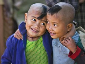 Burma, Rakhine State, Gyi Dawma Village, Two Young Friends at Gyi Dawma Village, Myanmar by Nigel Pavitt