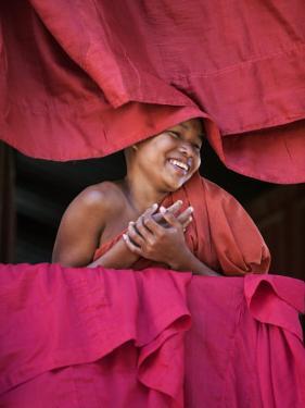 Burma, Rakhine State, Sittwe, Young Novice Monk at Pathain Monastery Where 210 Monks Live, Myanmar by Nigel Pavitt