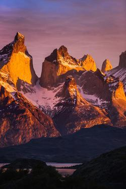 Chile, Torres Del Paine, Magallanes Province. Sunrise over the Peaks of Cuernos Del Paine. by Nigel Pavitt