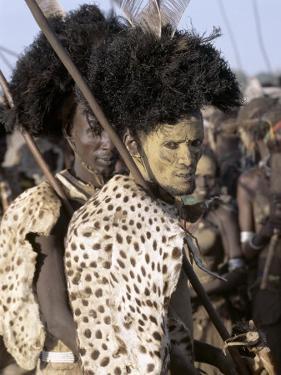 Dassanech Man in Full Tribal Regalia Participates in Dance During Ceremony, Omo Delta, Ethiopia by Nigel Pavitt