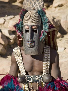 Dogon Country, Tereli, A Masked Dancer Wearing Coconut Shell Breasts Performs at the Dogon Village by Nigel Pavitt