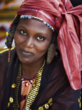 Gao, A Songhay Woman at Gao Market with an Elaborate Coiffure Typical of Her Tribe, Mali by Nigel Pavitt
