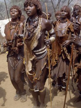 Hamar Women Dance, Sing and Blow Tin Trumpets in 'Jumping of Bull' Ceremony, Omo Delta, Ethiopia by Nigel Pavitt