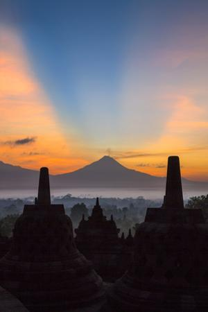 Indonesia, Java, Borobudur. Sunrise over the Active Stratovolcano by Nigel Pavitt