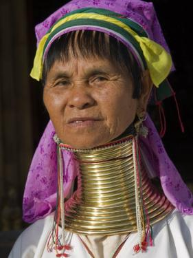 Padaung Woman of Karen Sub-Tribe Wearing Brass Necklace Which Elongates the Neck, Burma, Myanmar by Nigel Pavitt