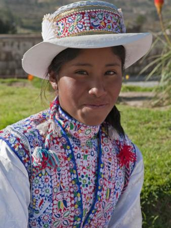 Peru, a Collaya Women at the Main Square of Yanque, a Village in the Colca Canyon by Nigel Pavitt