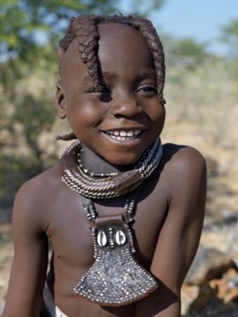 Young Himba Girl, Her Body Lightly Smeared with Mixture of Red Ochre, Butterfat and Herbs, Namibia