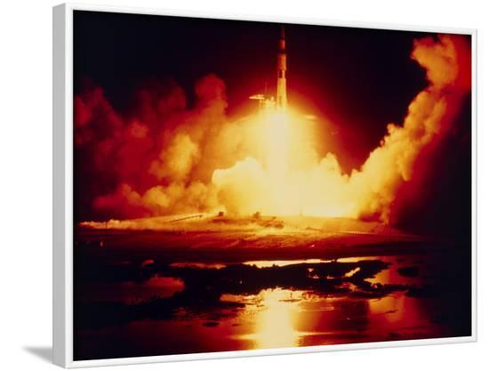 Night Launch of Apollo 17--Framed Photographic Print