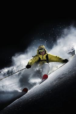 Night Skiier on Les Arcs French Alps