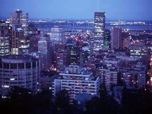 Night Skyline Seen from Mount Royal, Montreal Canada