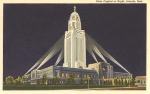 Night, State Capitol, Lincoln, Nebraska