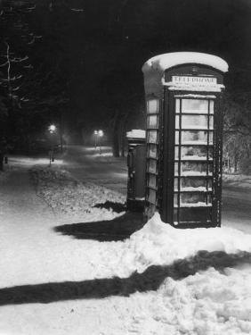Night Study after a Fall of Snow Showing a Telephone Kiosk