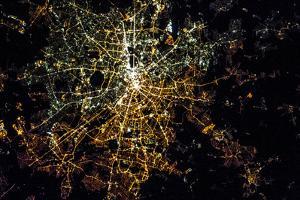 Night time satellite image of Berlin, Germany