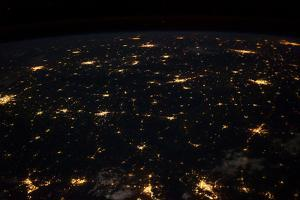 Night time satellite image of Cities in Gulf of Mexico, North America