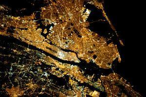 Night time satellite image of New York City area, NY, USA
