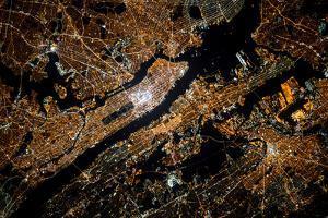 Night time satellite image of New York, USA