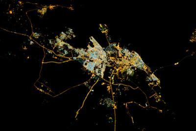 Night time satellite view of Dammam, Eastern Province, Saudi Arabia