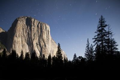 Night View of El Capitan, Illuminated by a Full Moon