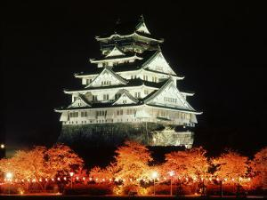Night View of Osaka Castle with Cherry Blossoms, Japan