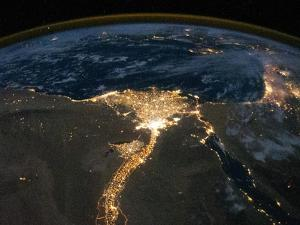 Night View of the Eastern Mediterranean Sea