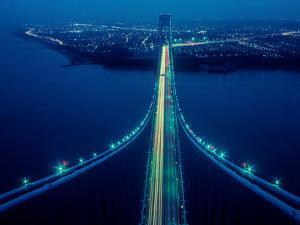 Night view of Verrazano-Narrows Bridge, New York City, New York State, USA