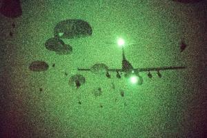 Night Vision Image of Paratroopers Jumping from C-141 Starlifter, Sept. 12 1989