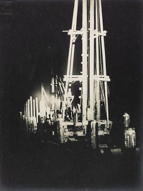 Night Work with Reflectors During the Construction of a Wooden Bridge for a Temporary Detour