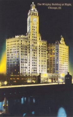 Night, Wrigley Building, Chicago, Illinois