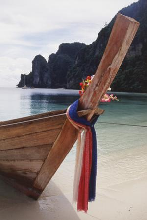 Thailand, Phuket, Phi Phi Islands, View of Long-Tail Boat and Lagoon by Nik Wheeler