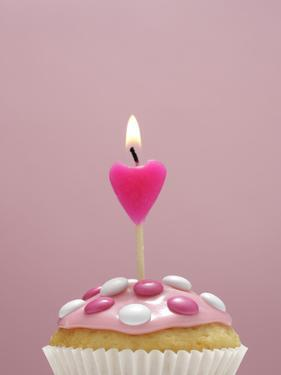 Muffin, Icing, Pink, Chocolate Beans, Candle, Heart Form, Burn, Detail by Nikky