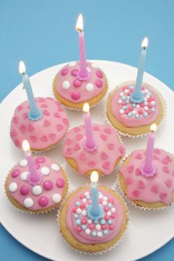 Of Muffin, Icing, Pink, Hearts, Chocolate Beans, Sugar Pearls, Candles, Burn, Detail, Blur by Nikky