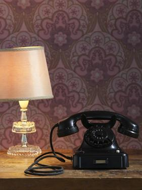 Phone, Old, Black, Standard Lamp, Nostalgia, Communication, Dial, Slice, Select, There Call Up by Nikky