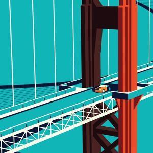 Car on the Golden State Bridge by Nikola Knezevic