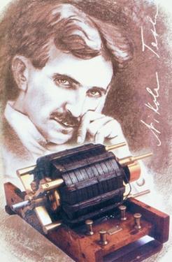 Nikola Tesla with Machine