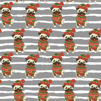 Christmas Holidays Seamless Vector Pattern with a Funny Pug in Sweater and Winter Hat by Nikolaeva