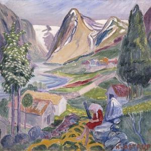 Kari at Sunde; Kari Paa Sunde by Nikolai Astrup