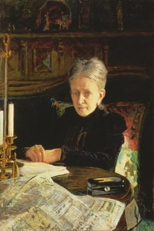 Portrait of Elena Osipovna Likhacheva (1836-1904) Writer and Social Activist, 1892