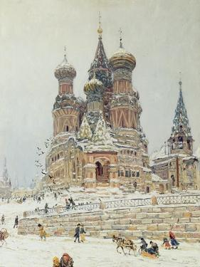 St. Basil's Cathedral, Red Square, Moscow, c.1917 by Nikolay Nikanorovich Dubovskoy