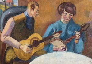 Portrait of Ethelbert White and his Wife, Elizabeth, c.1918 by Nina Hamnett