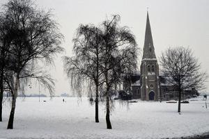 All Saints Church, Blackheath, London, 1867. Exterior with Winter Trees in the Snow by Nina Langton