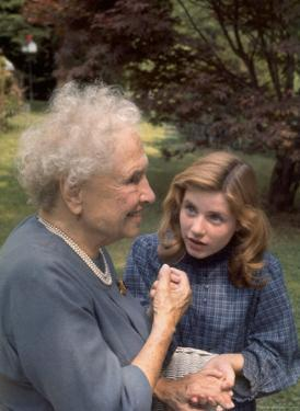 """Activist for the Disabled, Helen Keller, Meeting Actress Patty Duke in """"The Miracle Worker"""" by Nina Leen"""