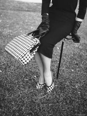 Big Checked Handbag with Matching Shoes, New Mode in Sports Fashions, at Roosevelt Raceway by Nina Leen