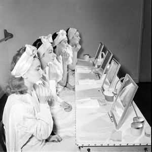 Helena Rubinstein Beauty School Training. Women Learning About Facials. 1940S by Nina Leen