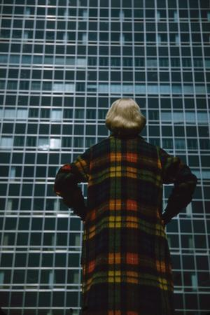 Model in a Long, Wool Coat with Plaid, Autumn Colors, New York, New York, 1954