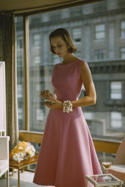 Model in a Pink, Trigere-Designed Cocktail Dress, New York, New York, 1954 by Nina Leen