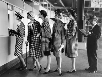 Models Wearing Checked Outfits, Newest Fashion For Sports Wear, at Roosevelt Raceway